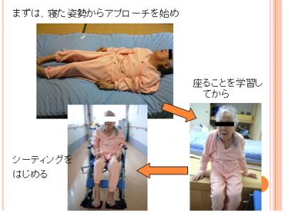 座位の姿勢保持からではなく、臥位姿勢から筋緊張をコントロールして座位へシフトする技術
